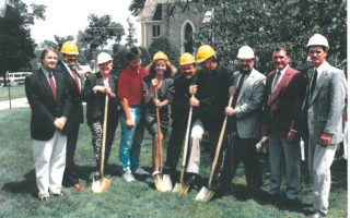 Groundbreaking Parish Hall 1993: l to r—Mike Black, Bob McDonald, Mary Hogan, Larry Yopp, Barb Kwiatkowski, Fr. Scott Leannah, Fr. Dave Braun, Ken Etten, James V. Sherrer and his son, James E. Sherrer.